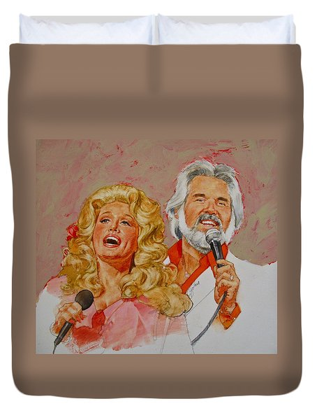 Duvet Cover featuring the painting Its Country - 8  Dolly Parton Kenny Rogers by Cliff Spohn