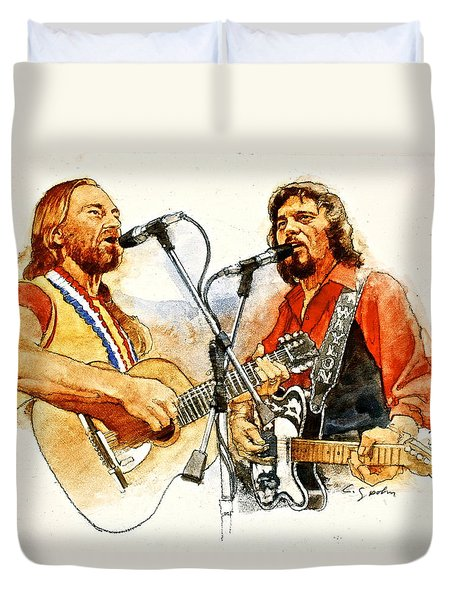 Duvet Cover featuring the painting Its Country - 7  Waylon Jennings Willie Nelson by Cliff Spohn