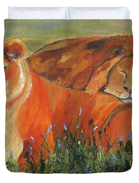 Duvet Cover featuring the painting It's Good To Be King by Jamie Frier
