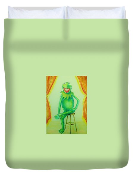 Duvet Cover featuring the drawing It's Not Easy Being Green by Denise Fulmer