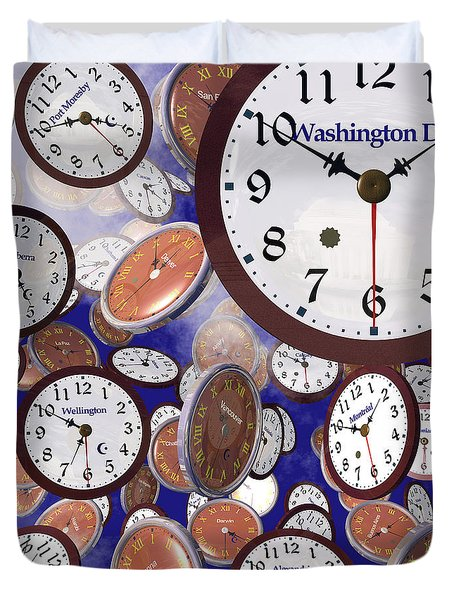 It's Raining Clocks - Washington D. C. Duvet Cover