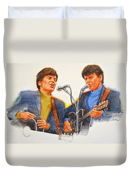 Duvet Cover featuring the painting Its Rock And Roll 4  - Everly Brothers by Cliff Spohn