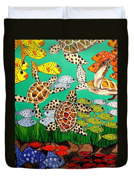 It's Turtle Time Duvet Cover by Lisa Aerts