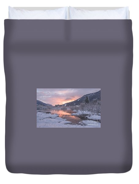 Duvet Cover featuring the painting It's Winter In The Mountains by Rod Jellison