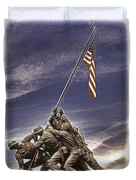 Iwo Jima Flag Raising Duvet Cover by Dennis Cox