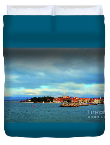 Duvet Cover featuring the photograph Izola From The Marina by Graham Hawcroft pixsellpix