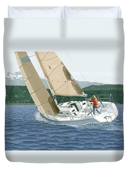Duvet Cover featuring the painting J-109 Sailboat Off Comox B.c. by Gary Giacomelli