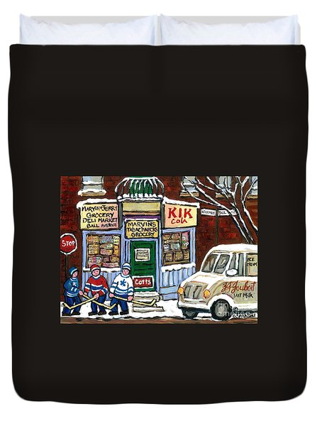 J J Joubert Vintage Milk Truck At Marvin's Grocery Montreal Memories Street Hockey Best Hockey Art Duvet Cover