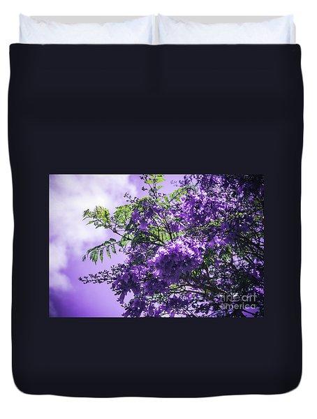 Duvet Cover featuring the photograph Jacaranda Mimosifolia Kula Maui Hawaii by Sharon Mau