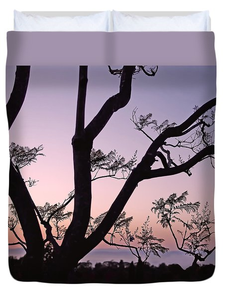 Duvet Cover featuring the photograph Jacaranda Silhouette by Rona Black