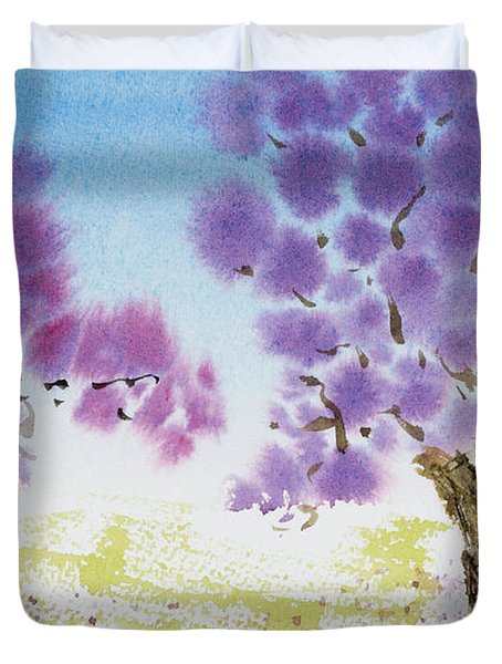 Jacaranda Trees Blooming In Buenos Aires, Argentina Duvet Cover