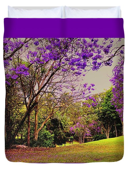 Duvet Cover featuring the photograph Jacarandas 2 by Wallaroo Images