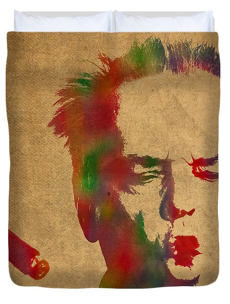 Jack Nicholson Smoking A Cigar Blowing Smoke Ring Watercolor Portrait On Old Canvas Duvet Cover by Design Turnpike