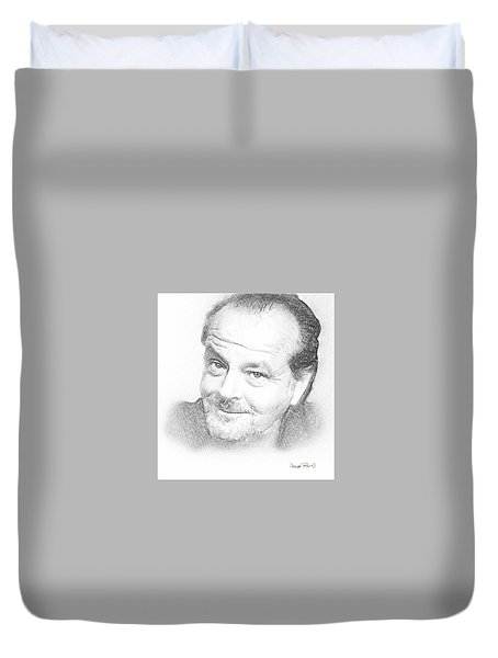 Duvet Cover featuring the drawing Jack  by Wayne Pascall