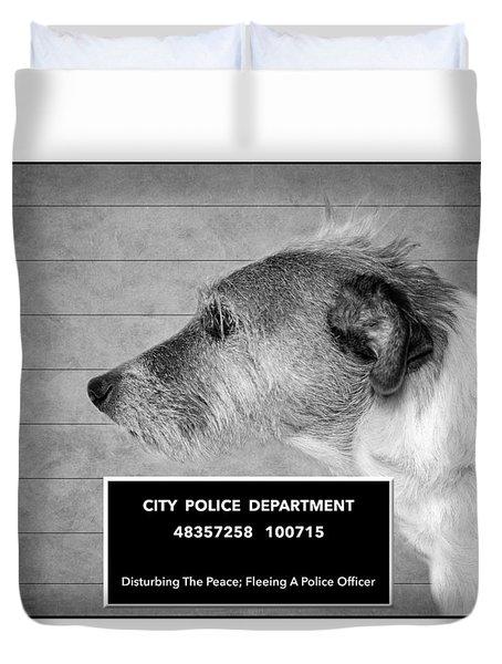 Jack Russell Terrier Mugshot - Dog Art - Black And White Duvet Cover by SharaLee Art