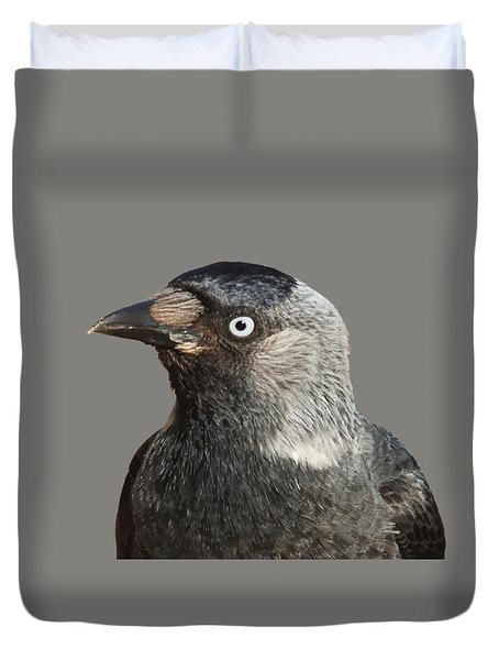 Jackdaw Corvus Monedula Bird Portrait Vector Duvet Cover