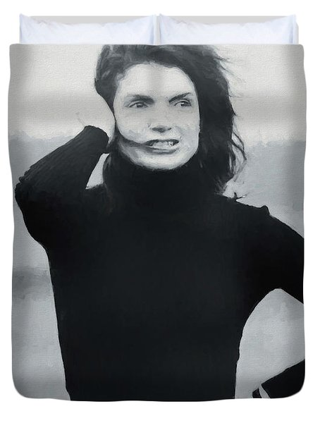 Duvet Cover featuring the painting Jackie Kennedy - Painting by Ericamaxine Price