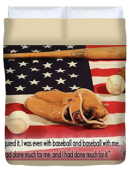 Jackie Robinson Baseball Quote Duvet Cover by Dan Sproul