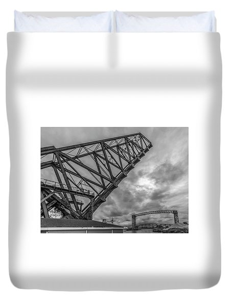 Jackknife Bridge To The Clouds B And W Duvet Cover