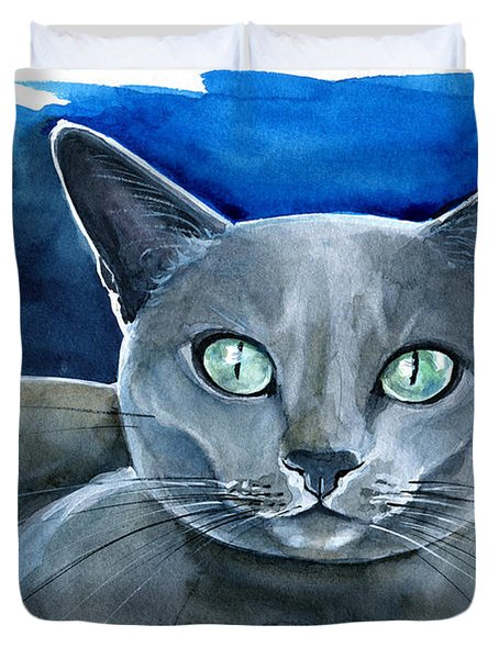 Jackpot - Russian Blue Cat Painting Duvet Cover