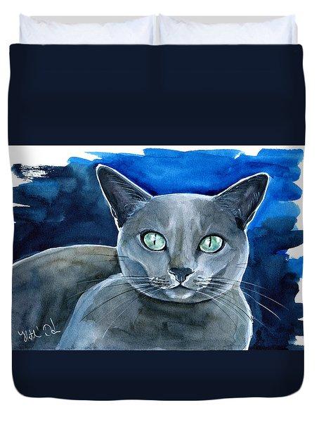 Jackpot - Russian Blue Cat Painting Duvet Cover