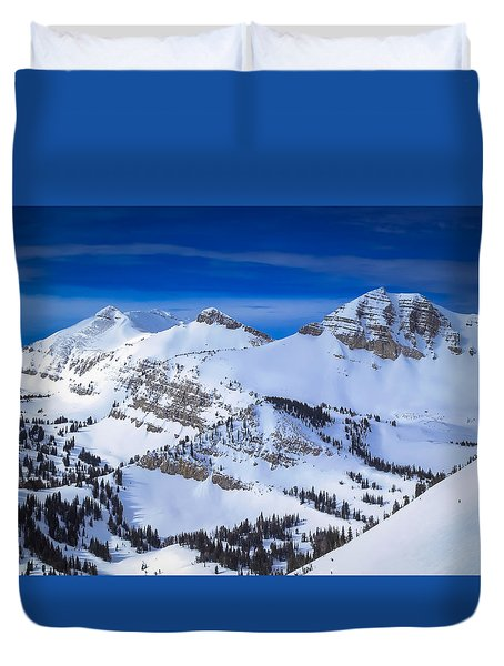 Jackson Hole, Wyoming Winter Duvet Cover by Serge Skiba