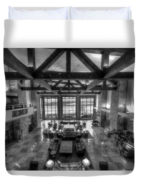 Jackson Lake Lodge Grand Tetons B W Duvet Cover