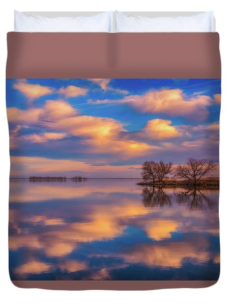 Duvet Cover featuring the photograph Jackson Lake Sunset by Darren White