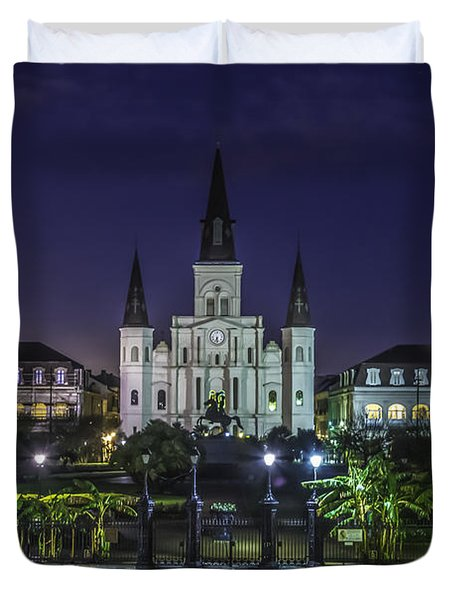 Jackson Square And St. Louis Cathedral At Dawn, New Orleans, Louisiana Duvet Cover