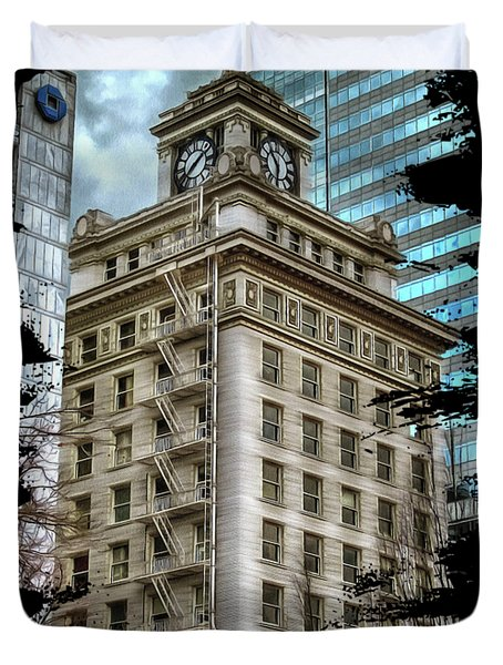 Duvet Cover featuring the photograph Jackson Tower Portland Oregon by Thom Zehrfeld