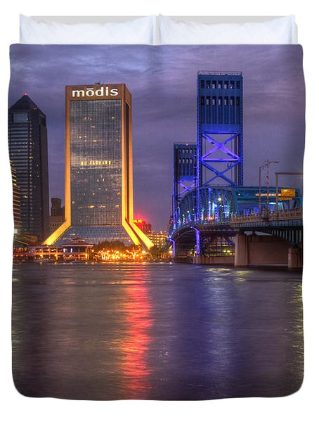 Jacksonville At Dusk Duvet Cover by Debra and Dave Vanderlaan