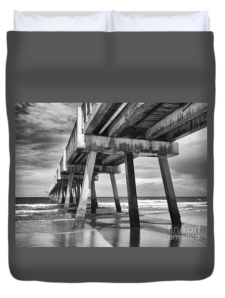 Jacksonville Beach Florida Usa Pier Duvet Cover