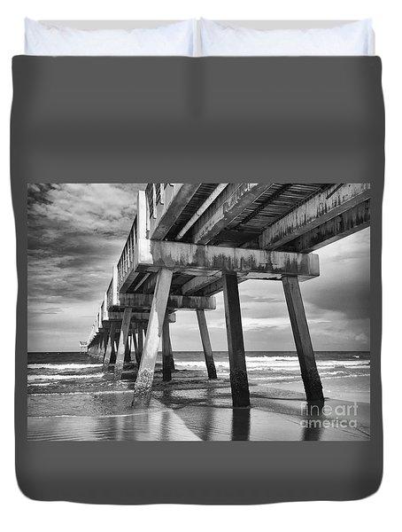 Jacksonville Beach Florida Usa Pier Duvet Cover by Vizual Studio