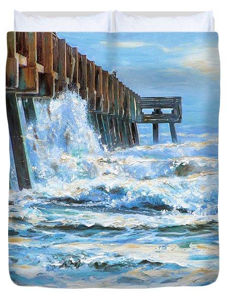 Jacksonville Beach Pier Duvet Cover