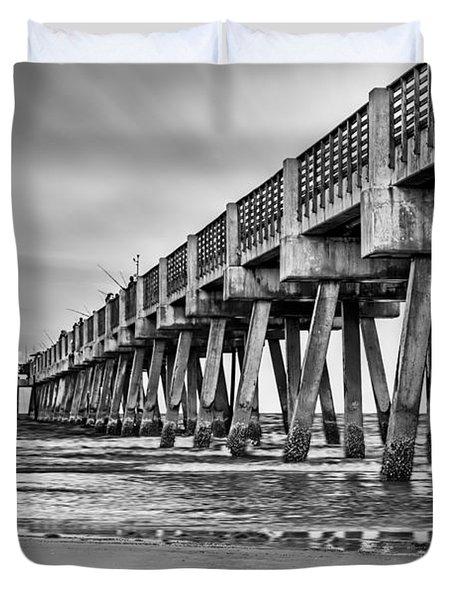 Jacksonville Beach Pier In Black And White Duvet Cover
