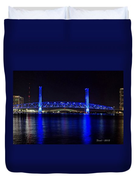 Jacksonville's Blue Bridge Duvet Cover
