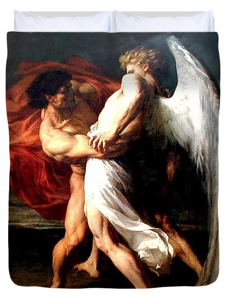 Jacob Wrestling With The Angel Duvet Cover by Alexander Louis Leloir