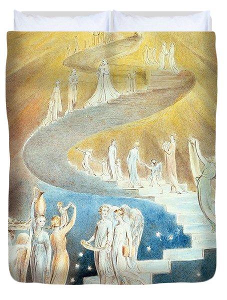Jacobs Ladder Duvet Cover by William Blake