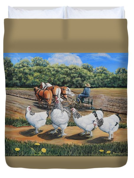 Jacobs Plowing And Light Bramah Chickens Duvet Cover