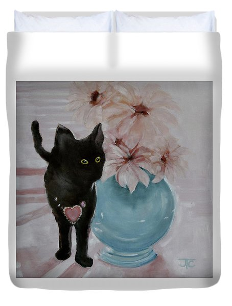 Duvet Cover featuring the painting Jacobs's Cat by Julie Todd-Cundiff