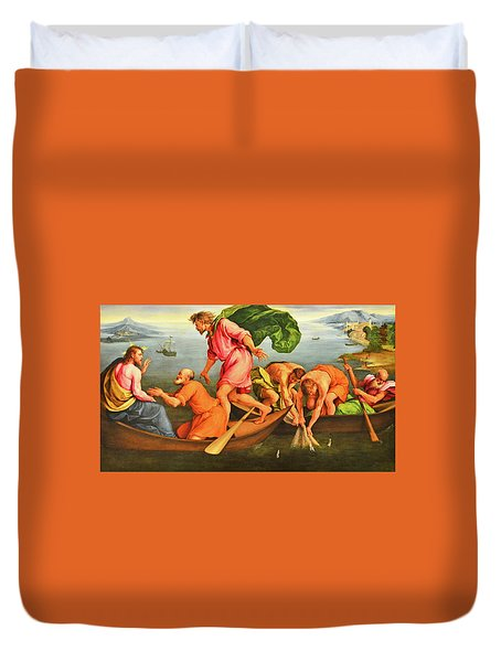 Duvet Cover featuring the photograph Jacopo Bassano Fishes Miracle by Munir Alawi
