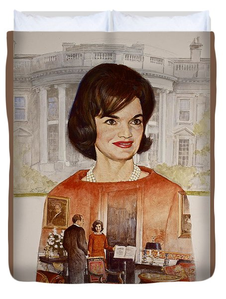 Duvet Cover featuring the painting Jacqueline Kennedy Onassis  by Cliff Spohn
