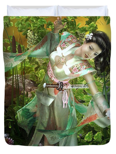 Jade Duvet Cover by Mary Hood