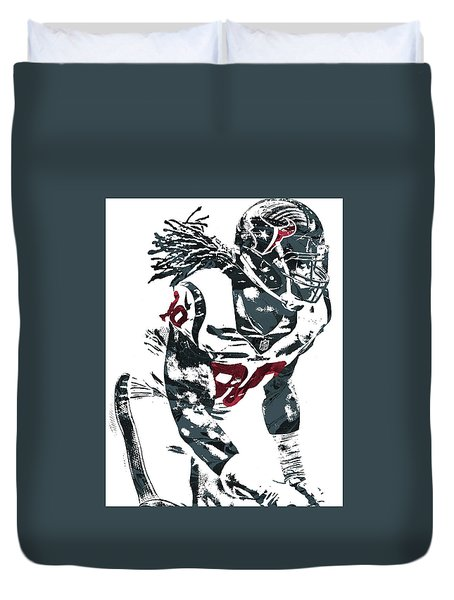 Duvet Cover featuring the mixed media Jadeveon Clowney Houston Texans Pixel Art by Joe Hamilton