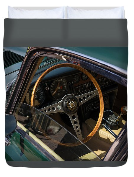 Duvet Cover featuring the photograph Jaguar E-type Interior by Hans Engbers