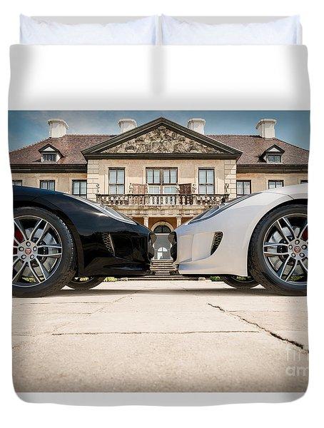 Jaguar F-type - Black And White Duvet Cover