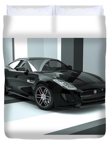 Jaguar F-type - Black Retro Duvet Cover