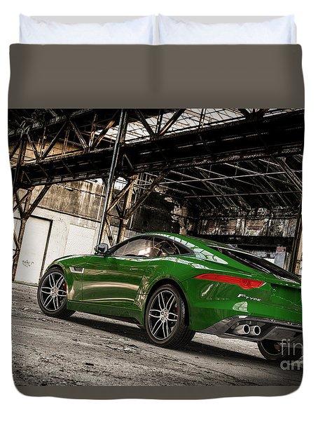Jaguar F-type - British Racing Green - Rear View Duvet Cover