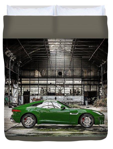 Jaguar F-type - British Racing Green - Side View Duvet Cover