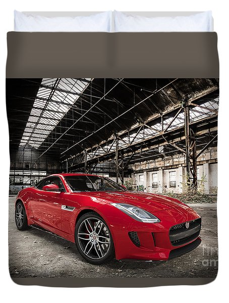 Jaguar F-type - Red - Front View Duvet Cover